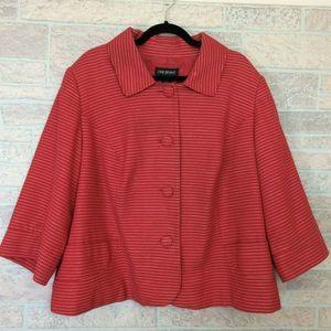 Lane Bryant Women Blazer Jacket Red Tan Tweed